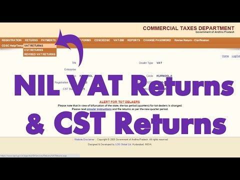 How to submit NIL VAT and CST Returns to AP CTO through Online?