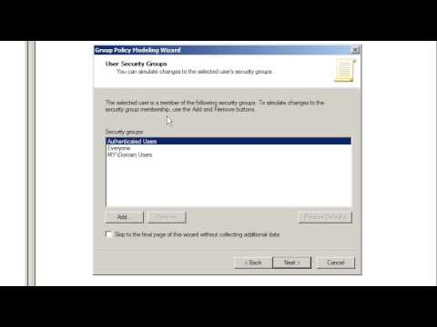 Windows Server 2008: group policy modeling wizard