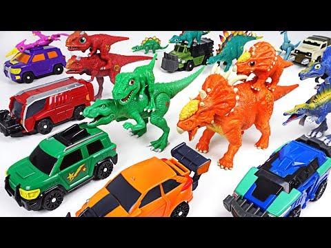 Dino Mecard capture car Steno and double figure dinosaur Pachyrhinosaurus appeared! - DuDuPopTOY