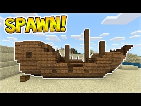 SHIPWRECK ON LAND AT SPAWN SEED In Minecraft (MCPE, Xbox, PC)