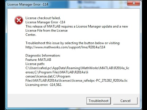 fixed matlab  R2014a lincense checkout failed