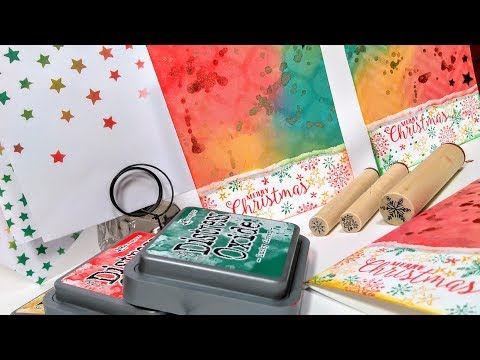 Distress Oxide One Layer Christmas Cards // Cool Techniques! // Stamp School