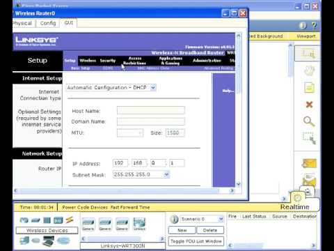 how to configure linksys wireless router in packet tracer