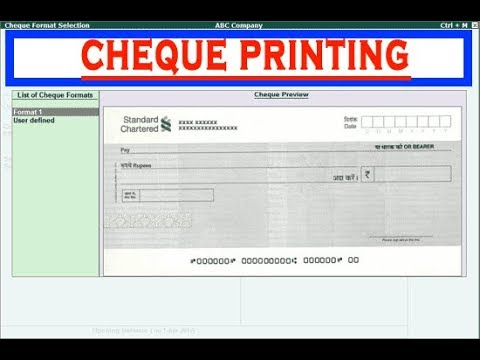 How to Configure Cheque Printing in Tally ERP.9