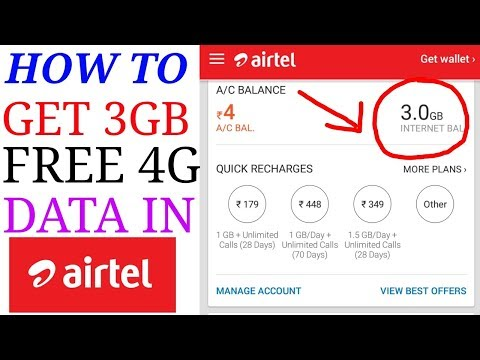 HOW TO GET 3GB 4G DATA  FREE IN AIRTEL   NEW 2017 DECEMBER PLAN