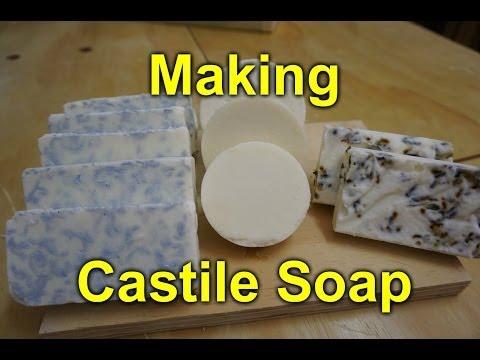 Making Castile Soap (plain, lavender, irish spring)