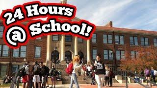 24 HOUR CHALLENGE AT SCHOOL! (ALMOST GOT CAUGHT) Crazy 24 Hour Overnight Challenge In School
