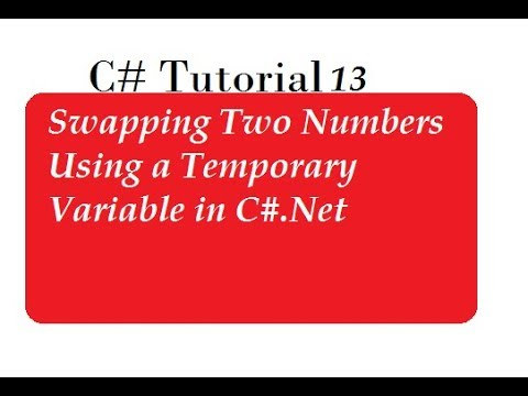 Swap Two Numbers Using Third Variable in C#