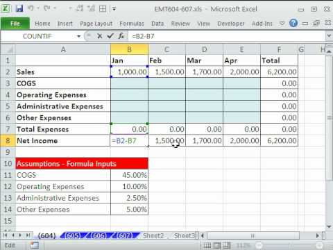 Excel Magic Trick 604: Mixed Cell References In Formulas - Budgeted Income Statement