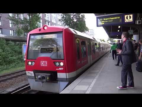 Hamburg, Germany - S1 Train Arriving at the Wandsbeker Chaussee Station (2018)