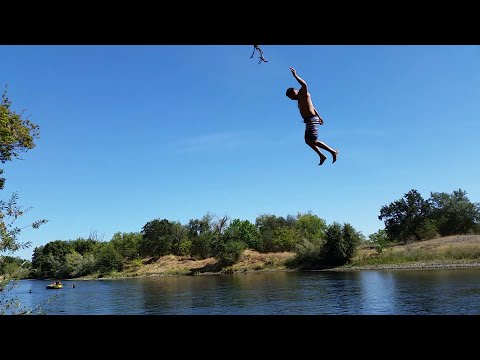Some Guy Slips Off The Rope Swing- American River California
