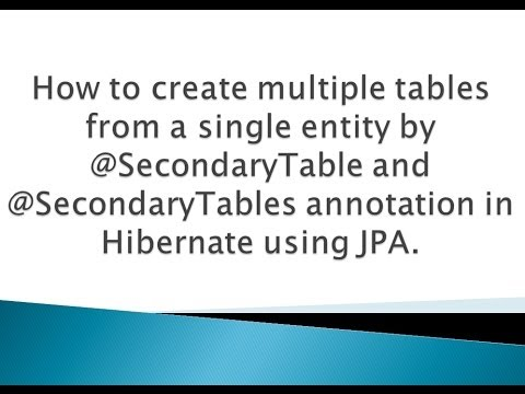 How to create multiple tables from single entity by @SecondaryTable annotation in Hibernate/JPA ?.
