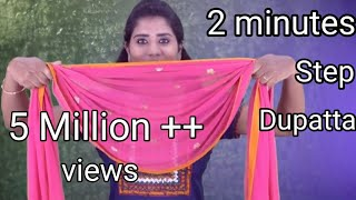 How To Wear Step Dupatta    Easy DIY With Safety Pin    Tamil beauty tips