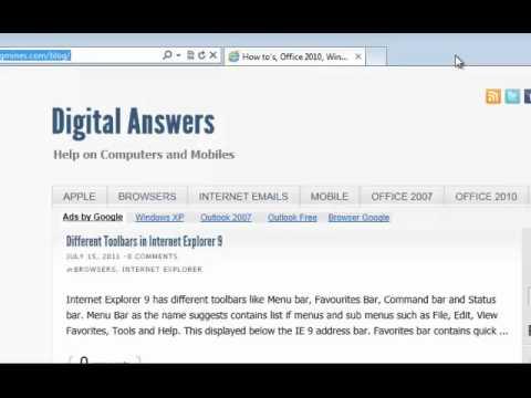Unhide menu bar in Internet Explorer 9