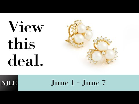 Deal of the Week: Yellow Gold Pearl and Diamond Earrings