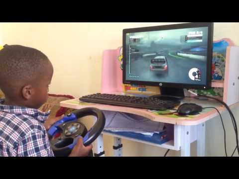 4 Year Old Playing Dirt On A $35 Racing Wheel
