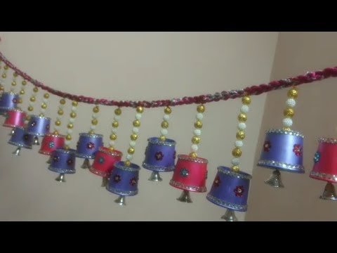 How to make toran for DIWALI from disposable cups/ Home decor toran from cups/ step wise guide