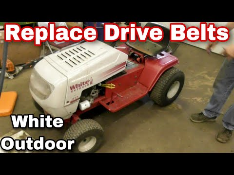 How To Change The Drive Belts On An MTD White Outdoor LT15 Riding Mower - with Taryl - Christie