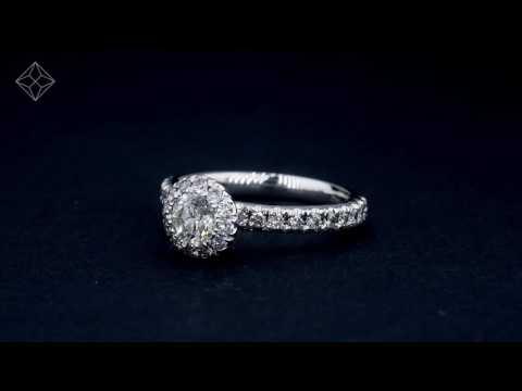 UT50- 18K White Gold Alessandra GIA Diamond Halo Side Stone Engagement Ring
