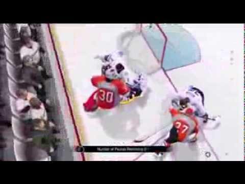 NHL 14: GOALIE HITS GOALIE (FUNNY MOMENTS)
