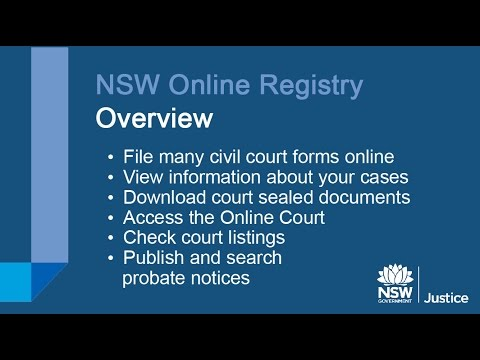 NSW Online Registry Overview