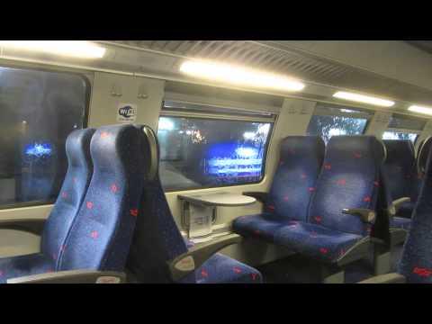 The train from Tel Aviv to Haifa (Israel) on a rainy day