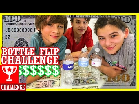 $$ WATER BOTTLE FLIP CHALLENGE FOR MONEY FOR CHARITY! | KITTIESMAMA