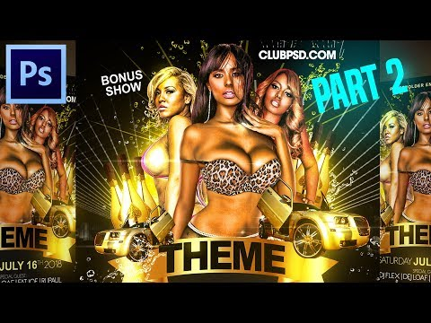 How to make Flyers on Adobe Photoshop Tutorial CC CS6 PSD for Party Event Club Graphic Designs 02
