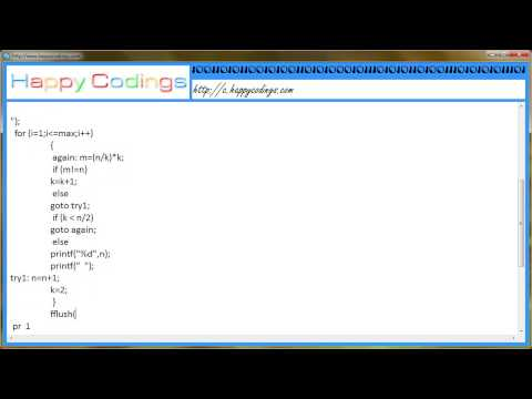 Program for finding the prime numbers   c code example