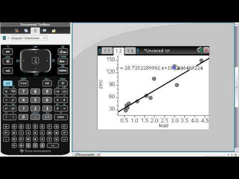 Using TI-nspire to find correlation coefficient