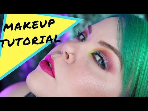 Neon Glitter Makeup Tutorial Makeup Geek & MUFE | Vintageortacky