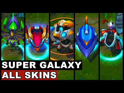 All Super Galaxy Skins New And Old Annie Fizz Gnar Nidalee Elise