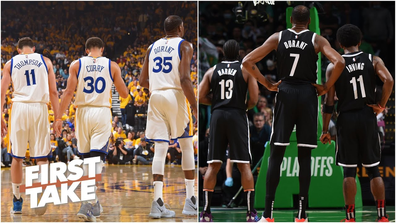 Steph, Klay and KD vs. KD, Harden and Kyrie: Which Big 3 would win?   First Take