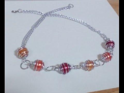 DIY Wire Wrap Jewelry Making - Wire Wrap Bead Necklace + Tutorial .