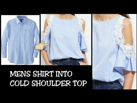 DIY Men's Shirt into Cold Shoulder Shirt Dress in 5 minutes|| Re-use of Old Men's Shirt||