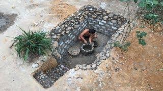 Primitive Life:Fish Pond-part2-Stone Embankment!