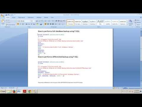 SQL Server tutorial 77: How to perform a differential backup