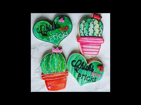 Valentine's Day Sugar Cookies w/ Glaze Icing (Cactus)