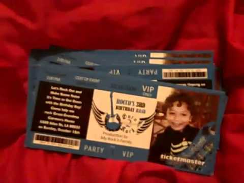 Concert Ticket invitation for Birthday Party  www.eventphotocards.com