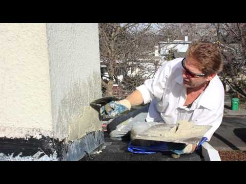 Repair chimney stucco over new flashing