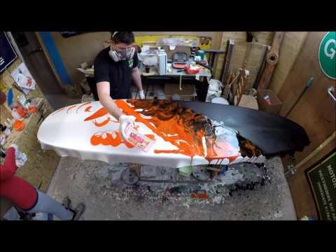 Electrofish Surfboards Glassing a Lava Resin Swirl Longboard Surfboard GoPro Resin Art Surf Craft
