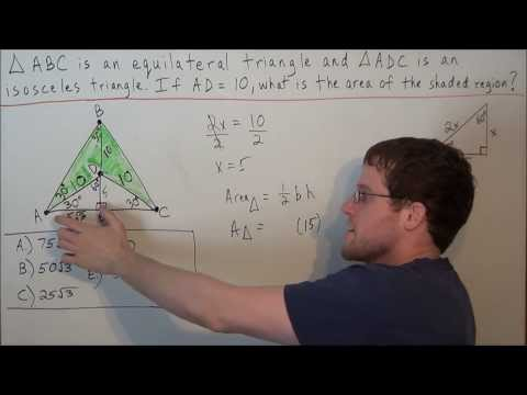 Area of Shaded Region (Equilateral Triangle Problem) - SAT Math