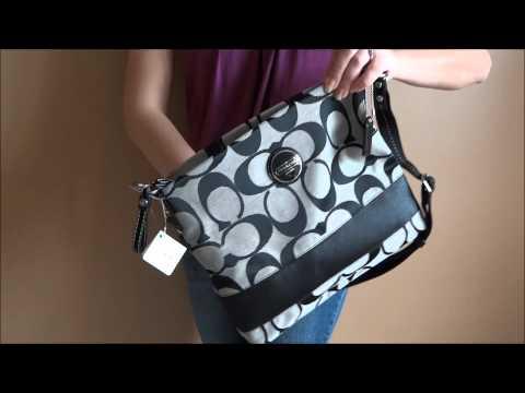 Black Stripe Coach Cross Body Bag Purse