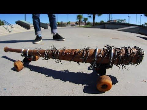 SUPER DANGEROUS WALKING DEAD SPIKED BAT SKATEBOARD! | YOU MAKE IT WE SKATE IT EP 155