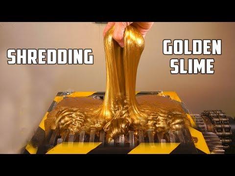Shredding Huge Golden Slime Ball - Sound Is So Satisfying (ASMR)!