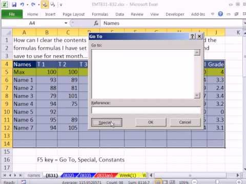 Excel Magic Trick 831: Clear Contents Of Worksheet Keep Formatting & Formulas & Other Clear Tricks