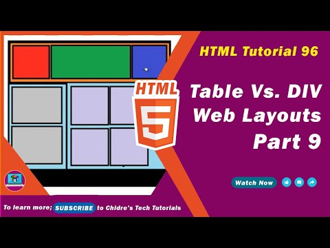 HTML video tutorial - 96 - Layout design using table vs div tag - Part 9