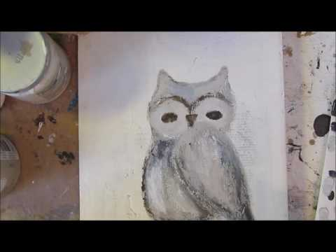 Mixed media art in motion of an owl