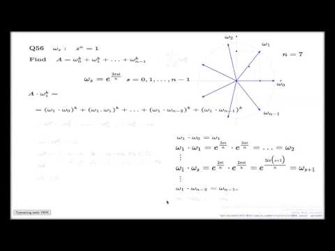 Tutorial Q56 Chapter 3 -- sum of roots of unity