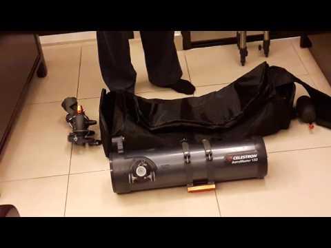Demonstrating a Travel Bag For Telescope Celestron Astromaster 130EQ. حقيبة سفر التيليسكوب